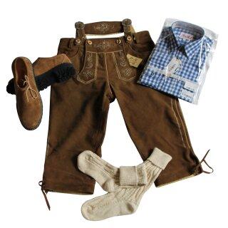 Trachten-Set (44) 4-teilig WILDBOCK nuss Kniebundhose Hemd blau Haferlschuhe & Socken