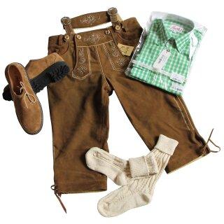 Trachten-Set (44) 4-teilig WILDBOCK nuss Kniebundhose Hemd grün Haferlschuhe & Socken