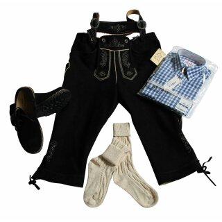 Trachten-Set (44) 4-teilig WILDBOCK schwarz Kniebundhose Hemd blau Haferlschuhe & Socken