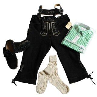 Trachten-Set (44) 4-teilig WILDBOCK schwarz Kniebundhose Hemd grün Haferlschuhe & Socken