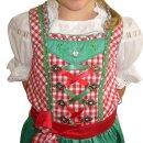 Fesches Kinderdirndl mit Bluse & Schürze Fb. rot / grün 98