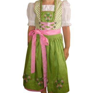 Fesches Kinderdirndl mit Bluse & Schürze Fb. grün / rosa