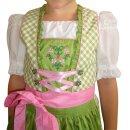 Fesches Kinderdirndl mit Bluse & Schürze Fb. grün / rosa 140