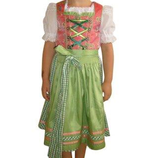 Fesches Kinderdirndl mit Bluse & Schürze Fb. lachs / grün 110