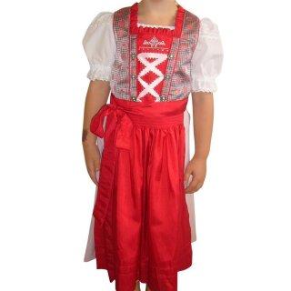Fesches Kinderdirndl mit Bluse & Schürze Fb. rot / rose
