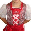 Fesches Kinderdirndl mit Bluse & Schürze Fb. rot...