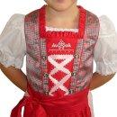 Fesches Kinderdirndl mit Bluse & Schürze Fb. rot / rose 140