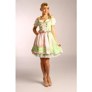 Dirndl / Kleid FLOWER mit Schürze Fb. grün / rosa L 50 cm