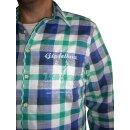 Trachtenhemd OS Fb. blau / grün kariert 37/38  S