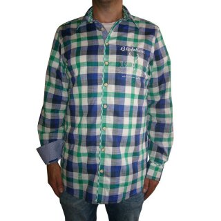 Trachtenhemd OS Fb. blau / grün kariert 39/40  M