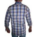 Trachtenhemd OS Fb. blau / braun kariert 43/44  XL