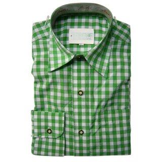 Original Trachtenhemd Fb. grün - kariert 35/36  XS