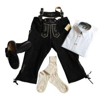 Trachten-Set (44) 4-teilig WILDBOCK schwarz Kniebundhose Hemd weiß HK Haferlschuhe & Socken