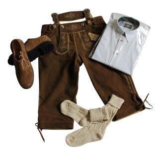 Trachten-Set (44) 4-teilig WILDBOCK nuss Kniebundhose Hemd weiß HK Haferlschuhe & Socken