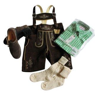Trachten-Set (58) 4-teilig hasel Bermuda Hemd grün Haferlschuhe & Socken