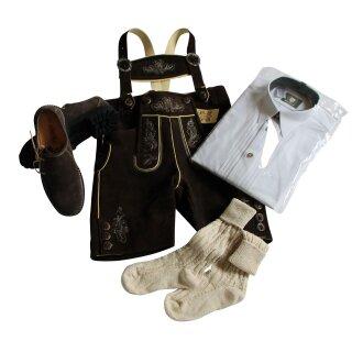 Trachten-Set (48) 4-teilig hasel Bermuda Hemd weiß HK Haferlschuhe & Socken