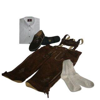 Trachten-Set (46) 4-teilig hasel Kniebundhose Hemd weiß Haferlschuhe & Socken