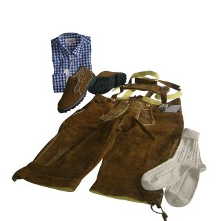 Trachten-Set (46) 4-teilig nuss Kniebundhose Hemd blau Haferlschuhe & Socken