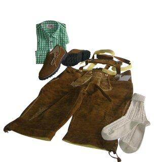 Trachten-Set (50) 4-teilig nuss Kniebundhose Hemd grün Haferlschuhe & Socken