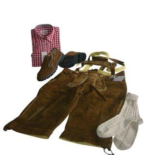Trachten-Set (48) 4-teilig nuss Kniebundhose Hemd rot Haferlschuhe & Socken