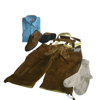 Trachten-Set (58) 4-teilig nuss Kniebundhose Hemd türkis Haferlschuhe & Socken