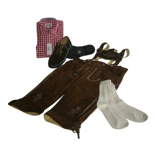 Trachten-Set (44) 4-teilig hasel Kniebundhose Hemd rot Haferlschuhe & Socken 35/36  XS 39