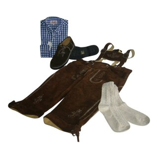 Trachten-Set (44) 4-teilig hasel Kniebundhose Hemd blau Haferlschuhe & Socken 43/44  XL 44