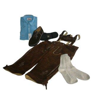 Trachten-Set (44) 4-teilig hasel Kniebundhose Hemd türkis Haferlschuhe & Socken 37/38  S 42