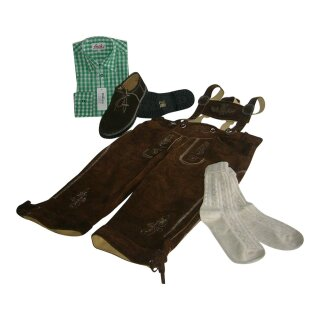Trachten-Set (44) 4-teilig hasel Kniebundhose Hemd grün Haferlschuhe & Socken 35/36  XS 41