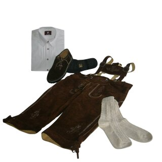 Trachten-Set (44) 4-teilig hasel Kniebundhose Hemd weiß Haferlschuhe & Socken 35/36  XS 43