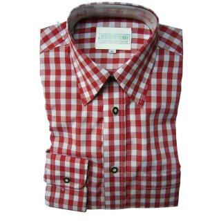 Original Trachtenhemd Fb. rot - kariert 35/36  XS