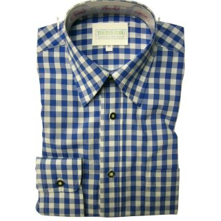 Original Trachtenhemd Fb. blau - kariert 41/42  L