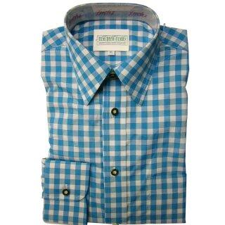 Original Trachtenhemd Fb. türkis - kariert 43/44  XL