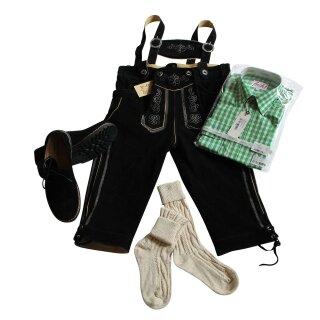 Trachten-Set (44) 4-teilig schwarz Kniebundhose Hemd grün Haferlschuhe & Socken