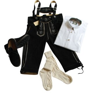 Trachten-Set (48) 4-teilig schwarz Kniebundhose Hemd weiß HK Haferlschuhe & Socken