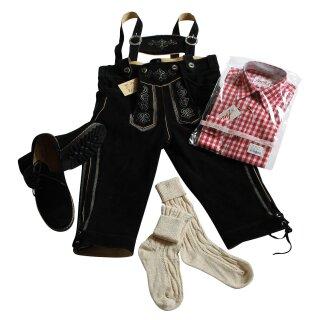 Trachten-Set (44) 4-teilig schwarz Kniebundhose Hemd rot Haferlschuhe & Socken