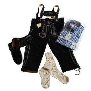 Trachten-Set (44) 4-teilig schwarz Kniebundhose Hemd blau Haferlschuhe & Socken
