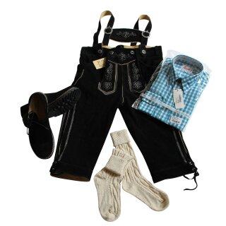 Trachten-Set (44) 4-teilig schwarz Kniebundhose Hemd türkis Haferlschuhe & Socken