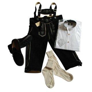 Trachten-Set (44) 4-teilig schwarz Kniebundhose Hemd weiß SK Haferlschuhe & Socken