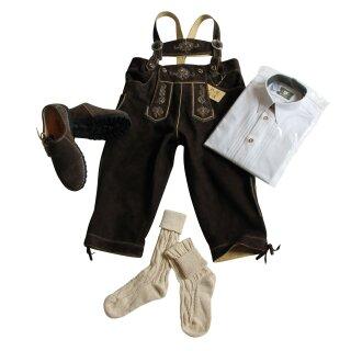 Trachten-Set (50) 4-teilig WILDBOCK hasel Kniebundhose Hemd weiß HK Haferlschuhe & Socken