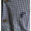 Trachtenhemd OS Fb. blau kariert mit Stickerei